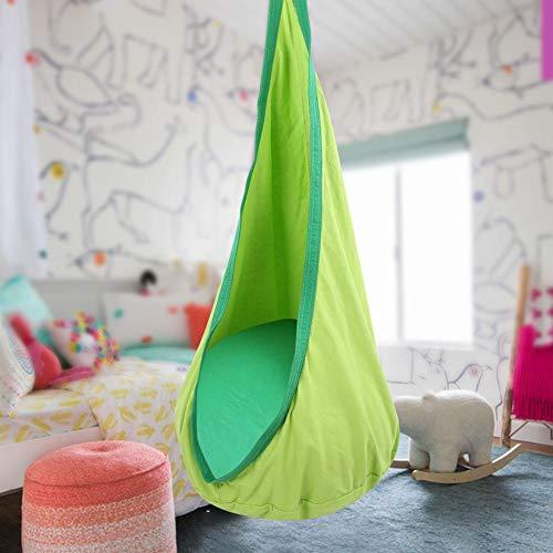 Longzhuo Kids Pod Schaukelsitz, Hängesitz Hängematte, Kinderstuhlhaken für drinnen und draußen mit Schnalle(Green)