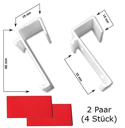 KLEMMFLEX Klemmträger für Duo-Rollo, Rollo, Minirollo - OHNE Bohren - Nicht verstellbar - inklusive Klebepads - 2 Paar (4 Stück)