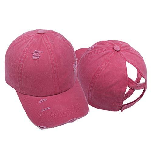 bibididi - Gorra de béisbol Lavada Vintage para Mujer, Gorra de papá con Cola de Caballo Alta y Cruzada Envejecida, Gorra de béisbol Vieja Lavada, Rojo
