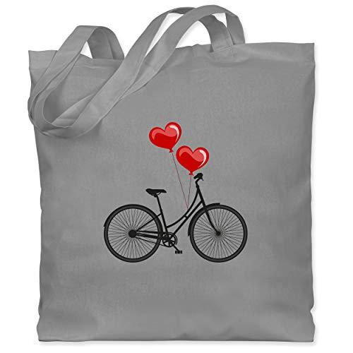 Shirtracer Statement - Fahrrad Herz Luftballons - Unisize - Hellgrau - stofftasche damen vintage - WM101 - Stoffbeutel aus Baumwolle Jutebeutel lange Henkel