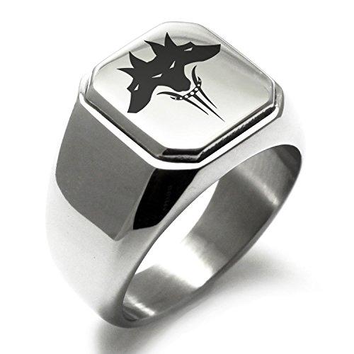 Stainless Steel Greek Mythology Cerberus Symbol Square Flat Top Biker Style Polished Ring, Size 8
