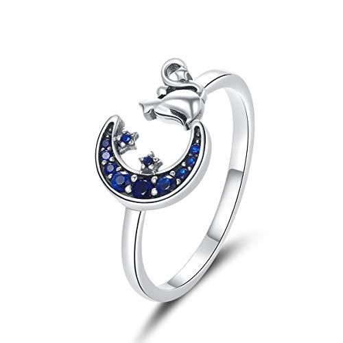 Qings Katze Einstellbar Ring 925er Sterling Silber Ringe Ring Öffnen Blau CZ Mond Stern Ring Tier Ringe Ring SÜß Finger Ringe Geburtstag Geschenk fÜR Teenager Mädchen