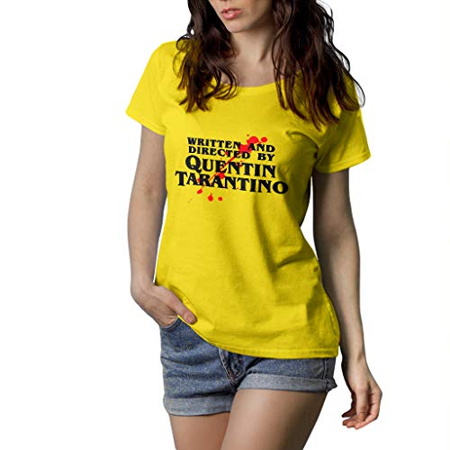 Fanta Universe Quentin Tarantino - T-Shirt Donna - 100% Cotone (XL, Giallo)