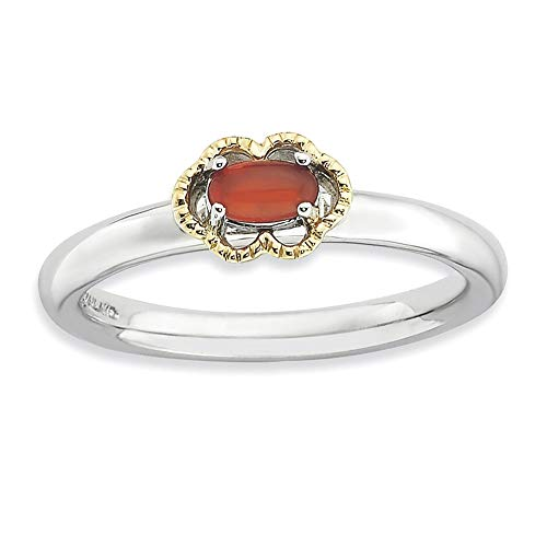 925 Sterling Silver 14k Red Agate Band Ring Size 8.00 Stone Stackable Gemstone Natural Fine Jewellery For Women Gifts For Her