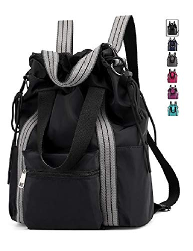Lightweight Large Capacity Laptop Backpack Tote Bags Shoulder Bag (black)