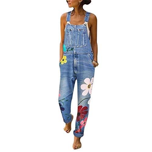 Vertvie Damen Denim Jeans Latzhose Langer Overall Blumen Jeansoptik Klasse Vintage Jeans Lang Lässig Baggy Boyfriend Stylisch Jumpsuit Hüftjeans S-3XL (S, Hellblau)