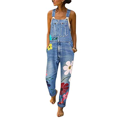 Vertvie Damen Denim Jeans Latzhose Langer Overall Blumen Jeansoptik Klasse Vintage Jeans Lang Lässig Baggy Boyfriend Stylisch Jumpsuit Hüftjeans S-3XL(L, Hellblau)