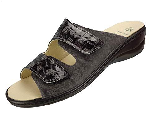 Algemare Pantolette Damen mit Wechselfußbett Algen-Kork Made in Germany 1447_2127 Sandale Sandalette Damen mit Absatz, Größe:40 EU