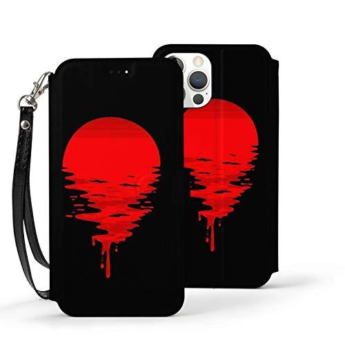Ip12pro Max-6.7 Funda de cuero Flip Phone Wallet Cover a prueba de golpes Sun Blood Red Protectora con ranura para tarjeta Kickstand