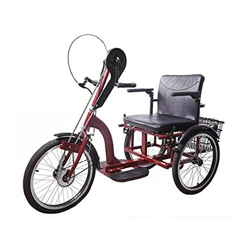 Triciclo para adultos bicicleta Triciclo Para Adultos 3 Bicicletas De Ruedas Con Marco De Acero De Alto Carbono Triciclo Manualmente Para Los Ancianos Con Cesta De Compras Y Cesta Del Respaldo Del Asi