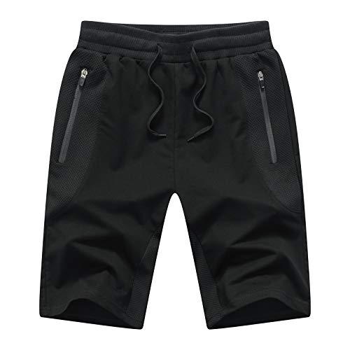 Tansozer Pantaloncini Uomo Sportivi Estivi Cotone Pantaloncini Corsa Uomo Running Palestra Shorts Nero XXL