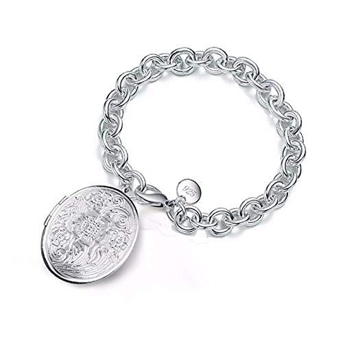 lonfenner Armbanduhr,Einfache 925 Sterling Silber Kette Blume Foto Medaillon Verstellbare Schnalle Kette Armband Liebhaber Speicher