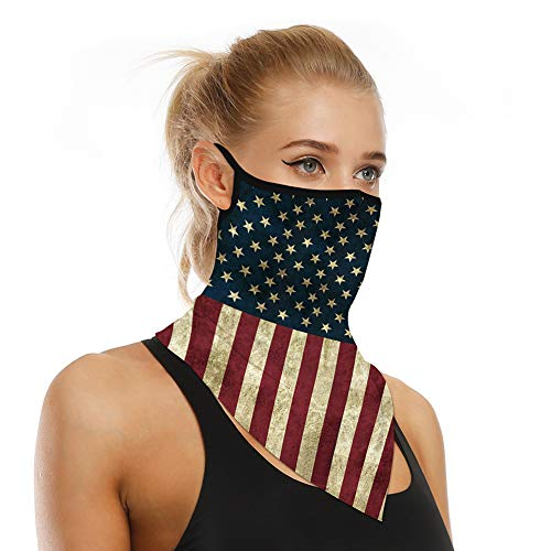Bandana Face Mask Ear Loops Neck Gaiter for Sun UV Dust Wind Cloth Face Mask Face Cover Men Women Scarf Balaclava for Cycling Hiking Fishing Outdoor Activities(Flag)