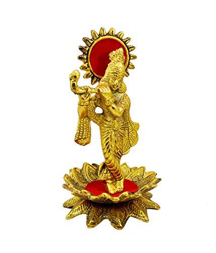 Amazing India Online - Figura Decorativa de Dios Krishna con Flauta de Metal Idol de 6 Pulgadas