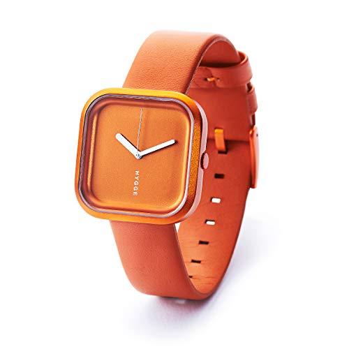 Hygge con dentatura Orange-Orologio Unisex al quarzo con Display analogico e cinturino in pelle, colore: arancione, HE-02-074-02