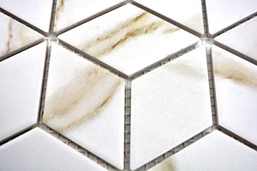 Mosaik Fliese Keramik weiß Diamant POV Calacatta Wandfliesen Badfliese MOS13-0112_m
