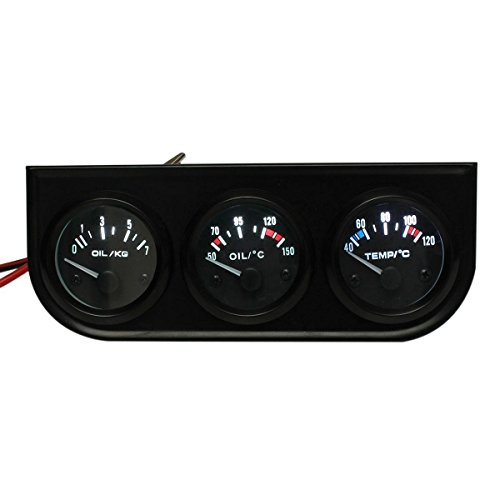 Salpicadero del coche - TOOGOO(R)3 conjunto de manometro de puntero de coche ¨C temperatura de agua ¨H/ presion de aceite/ voltio - luz LED de 2