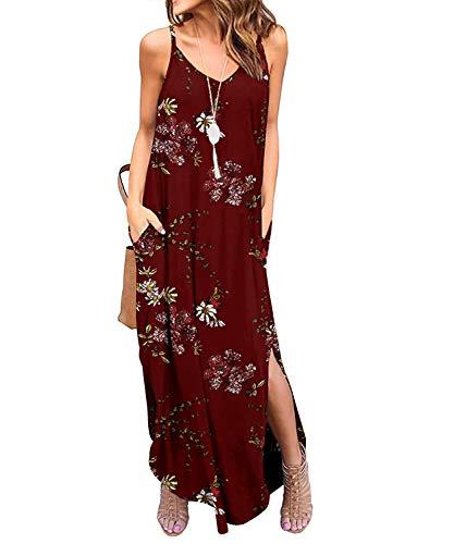 TUDOU damski luźny pasek spaghetti z dekoltem w serek podzielone sukienki maxi letnie sukienki plażowe z kieszenią