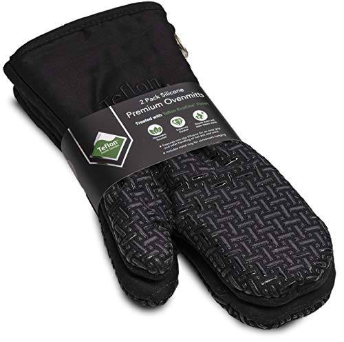 XLNT Extra Long Oven Mitts (Green) | Heat Resistant Kitchen Gloves for Oven Cooking, Grill & BBQ | Non Slip Silicone Gloves with Teflon Eco Elite Coating, Cotton Lining & Hanging Loop