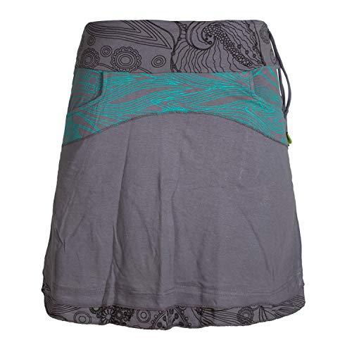 Vishes - Alternative Bekleidung - Kurzer Lagen-Look Baumwoll-Rock Bedruckter Breiter Bund mit Taschen grau 42