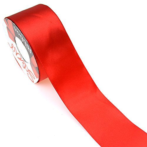 Star Quality 2 Inch Wide Satin Ribbon by 25 Yard Spool| Polyester Ribbon for Floral Arrangement, Wedding Bouquet, and Big DIY Artwork Projects | No Fading Woven Ribbon (2 Inch Width, Christmas Red)