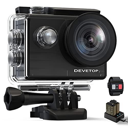 DEVETOP Action Cam 4K Fotocamera Subacquea 20MP Ultra HD Sport Camera 40M Impermeabile con Grandangolo 170° Microfono Esterno Telecomando Wireless 2.4G 2*Batterie da 1050 mAh e Accessori