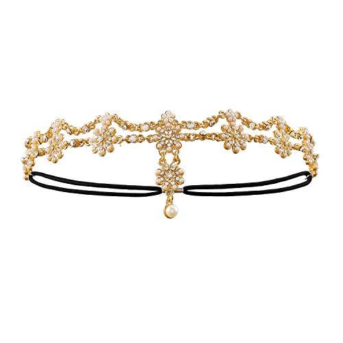 Metme Retro Stirnbänder Damen Flapper Gold Haarbänder 1920er Jahre Great Gatsby Zubehör