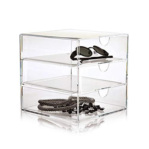 Casier 3 tiroirs transparent