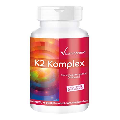 Vitamina k2 mk7 Complex 1250mcg - 240 Capsule - Vegan - Altamente dosato - MK-4 e MK-7