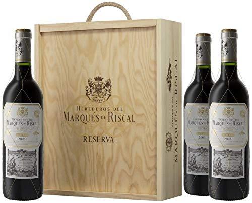 Caja de madera 3 botellas - Márques de Riscal Reserva - Vino tinto
