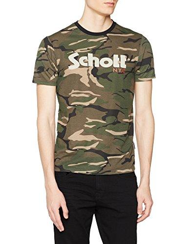 Schott NYC Tslogo Camiseta, Multicolor (Camo Kaki Camo Kaki), Large para Hombre