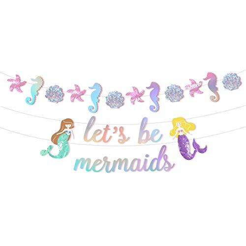 NICROLANDEE Glitter Zeemeermin Banner voor Feestartikelen - Voorgemonteerd Onder de Zee Thema Laten we Zeemeermin Garland met Sprankelende Laser voor Meisje Verjaardag Baby Douche Party Decoraties