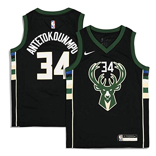 Nike Giannis Antetokounmpo Milwaukee Bucks NBA Infant & Toddler 12-24 2-4 Black Statement Edition Player Jersey (Infants 12 Months)