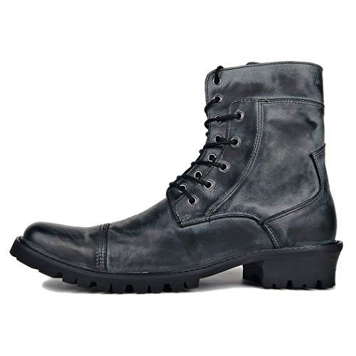 AZLLY Mens zwart lederen enkellaarzen Punk Goth Biker zwarte laarzen Rits lage hak plat gewatteerde manchet Biker voor alle seizoenen