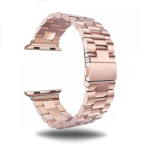 G-RF Acero Inoxidable Pulsera para Apple Watch Band 38mm 40mm 42mm 44mm, Tres Cuentas Sólidas Correa de Repuesto (42mm/44mm,Oro Rosa)