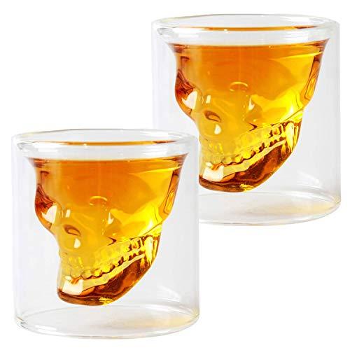 HwaGui Doble Pared Cristal Calavera Juego de 2 Vasos de Chupito de...