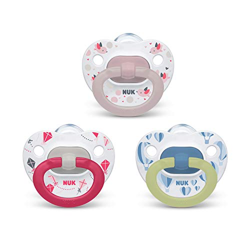 NUK Orthodontic Pacifier Value Pack, Girl, 6-18 Months (Pack of 3)