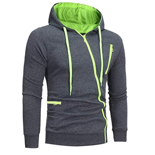 TIFENNY Fashion Diagonal Collar Zipper Hoodie for Men...