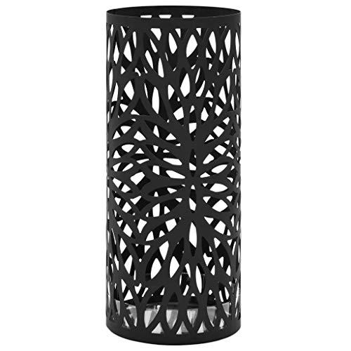 vidaXL Paragúero Diseño de Hojas Acero Negro Accesorios Decoración Hogar Casa