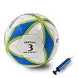 Aoneky Balón de Fútbol para Niños - Talla 3 Diámetro 18 cm, Balón de Fútbol Profesional con Bomba de Aguja, Entrenamiento de Fútbol para Partido Competencia, Juguete Infantil Deportes al Aire Libre