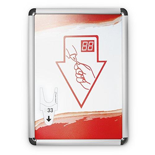Accesorio para Turn-O-Matic de Meto, rótulo informativo FS902 sobre el uso del dispensador de tickets, 1 marco plegable de aluminio con accesorios de montaje e indicaciones