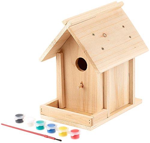 Royal Gardineer Vogelhaus Bausatz: Nistkasten-Bausatz aus Echtholz, mit Balkon und 6-teiligem Farben-Set (Vogelnistkasten)