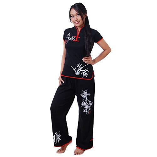 Princess of Asia Asien Damen Frauen Yoga Trainingsanzug,Tai Chi, Hausanzug & Meditations Anzug Baumwolle Schwarz S