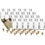 24 leere Glasflaschen 'Apotheker 250 ml' incl. Holzgriffkorken zum selbst Abfüllen Likörflasche...