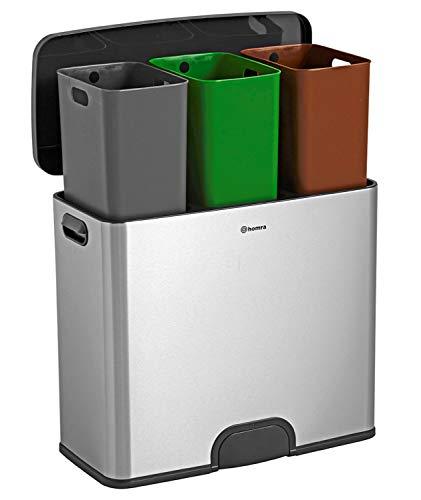 Papelera de reciclaje con sensor de Homra – Cubo de basura de 45 L (3 x 15 L) – Cubo de basura con pedal sin contacto con 3 compartimentos – Acero inoxidable – Tapa de cierre automático – Kick me 45L