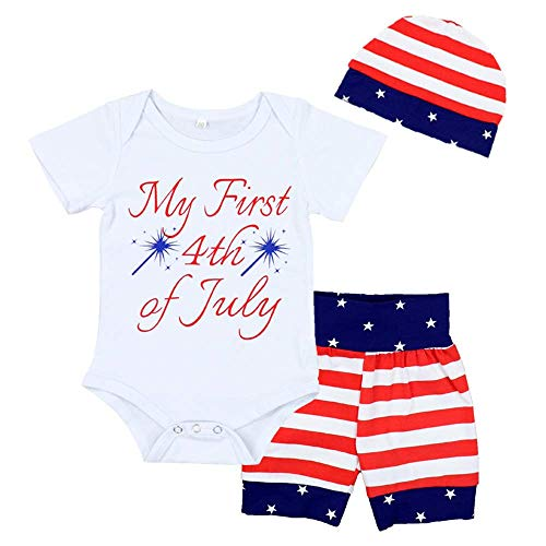 RCPATERN My 1st 4th of July Clothes Baby Boy Girl Outfits American Flag Star Romper + Shorts + Hat
