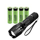 LED Torch Flashlight Set Included 4x for Original Panasonic NCR18650B Flat top, Mini Torch,5 Light Modes for Camping, Cycling, Running, Dog Walking and More Outdoor video doorbell vaping USB Fan W1