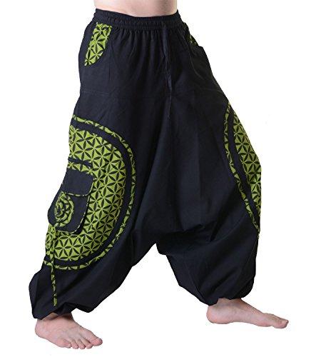 KUNST UND MAGIE Trendige Haremshose Bunte Muster Goa Hippie Hose, Größe:L/XL, Farbe:Schwarz/Lemon