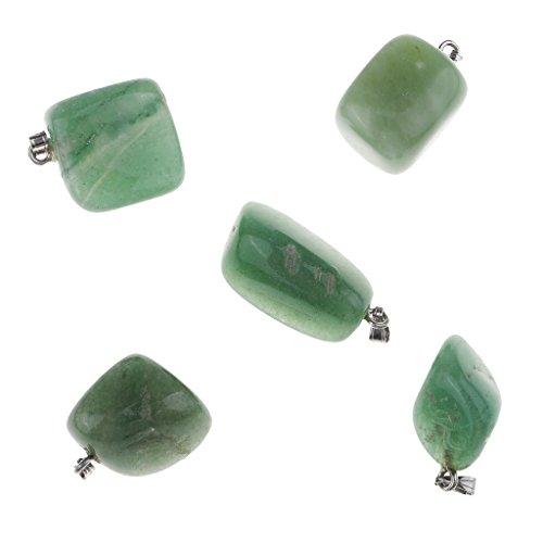 sharprepublic 5 Piezas Colgante De Cuarzo Natural Mineral Irregular Pulido Collar De Piedra Decoración - Verde