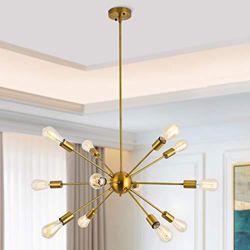 Lámpara de araña Sputnik, 12 focos, moderna, lámpara colgante E27, de metal,...